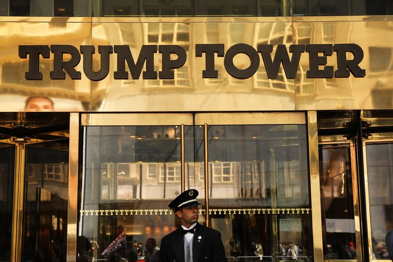A guard stands outside of Trump Tower on Fifth Avenue in Manhattan.