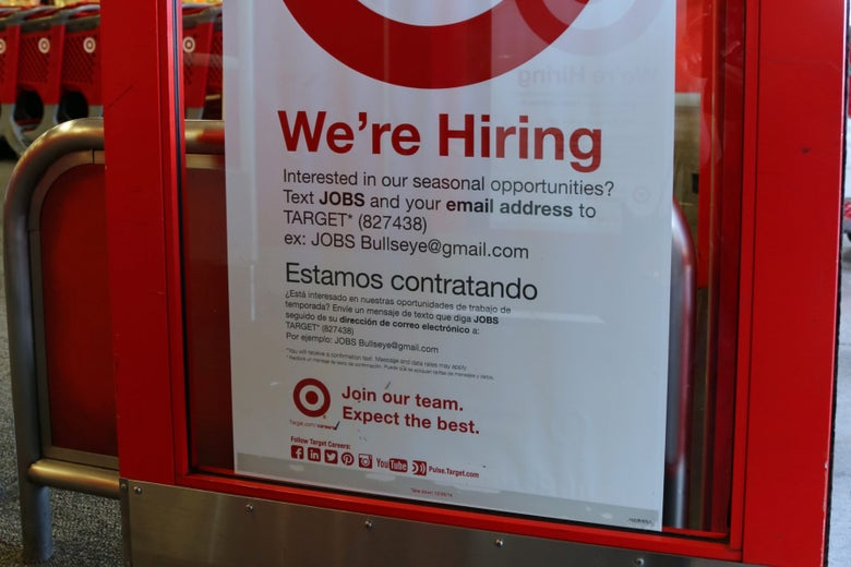 Now hiring at a Target store in Long Beach, California, on Oct. 26, 2014.