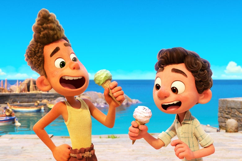 Two cute, big-eyed boys with curly hair eat ice cream on the picturesque Italian coast.
