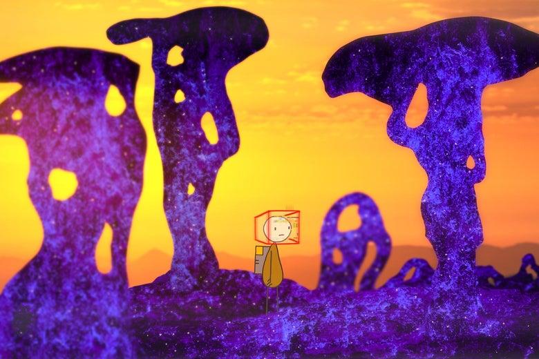 A stick figure walks through an alien landscape.