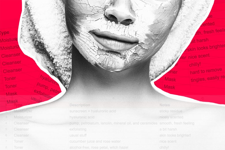 A woman wears a face mask. Columns from a spreadsheet are overlaid on the image.