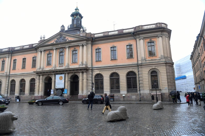 A picture taken on May 3, 2018 shows the old Stock Exchange Building, home of the Swedish Academy in Stockholm.