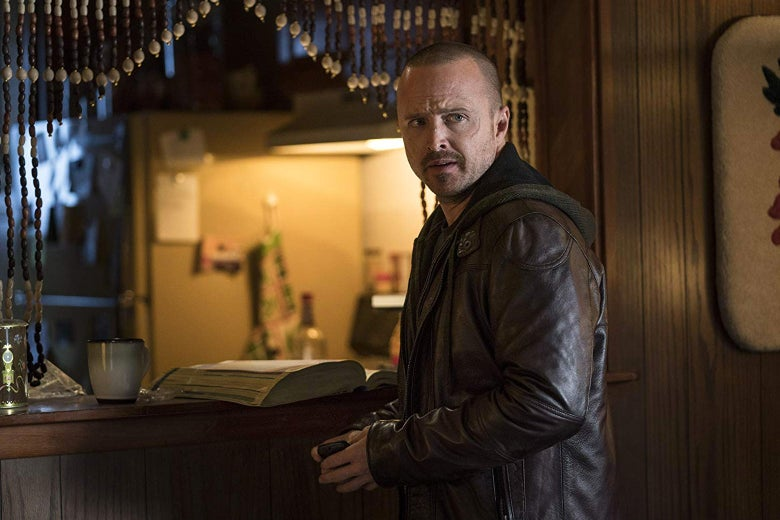 Aaron Paul wears a leather jacket in a still from El Camino.