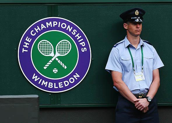 Wimbledon logo at the Wimbledon Lawn Tennis Championships.