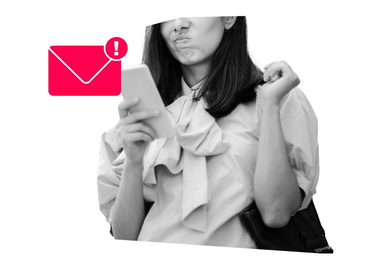 Woman looks at a phone next to her is an illustrated email symbol with an exclamation point.