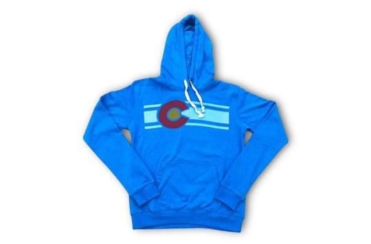 Blue hoodie.