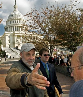 Conservative radio talk show host Mark Levin greets supporters after his remarks at a 2009 protest on the West Lawn of Capitol Hill with an estimated 20,000 supporters against the new proposed health care plan.