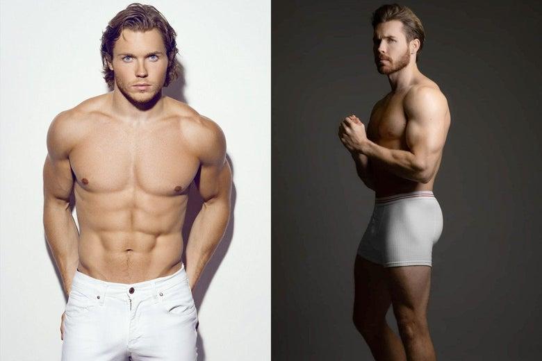Samuel Rason shirtless in white jeans and shirtless in white underwear.
