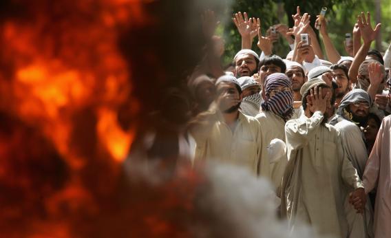 Islamic students burn videos