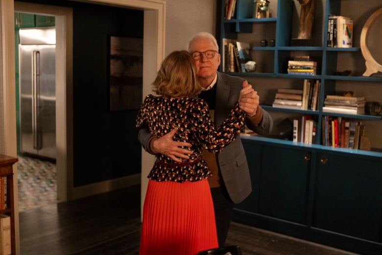 Steve Martin dances with Amy Ryan in Only Murders in the Building.