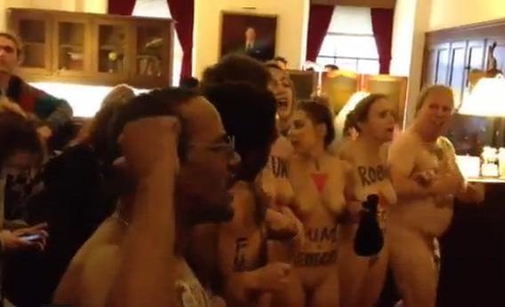 Naked protest inside Speaker of the House Rep.John Boehner's office.