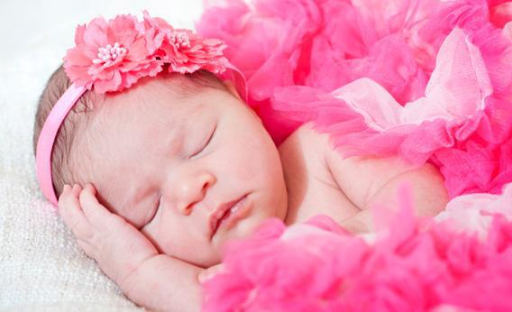 Baby girl in pink.