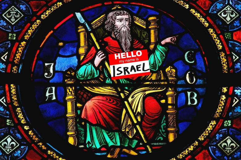 """A stained glass rendering of Jacob on a throne with a scepter, and a nametag that says """"Hello, My Name Is ISRAEL."""""""