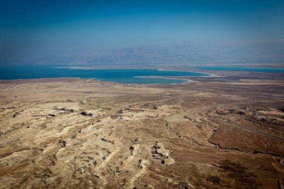 Receding waters, as seen from Masada. The ancient fortress city stands on a rocky plateau at the western edge of the Judean Desert.