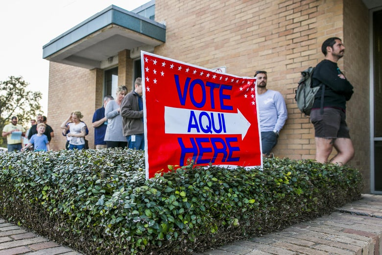 AUSTIN, TX - MARCH 06: A line of early voters wait outside the Gardner Betts Annex on March 6, 2018 in Austin, Texas. Democrats are seeing a large increase in voter turnourt compared to last year. (Photo by Drew Anthony Smith/Getty Images)