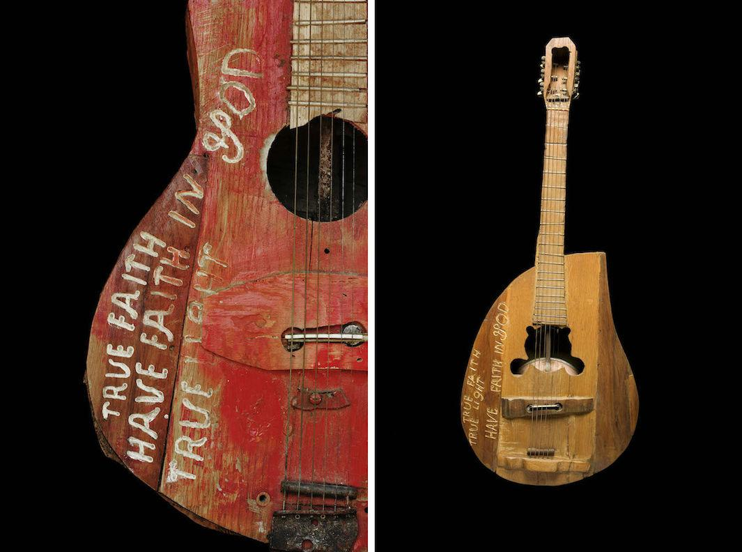 Tim Hawley photographs Ed Stilley's homemade guitars in the