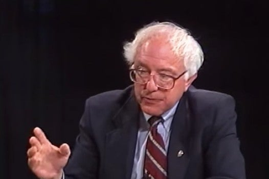 Screenshot of video of Bernie Sanders speaking in the year 2000.