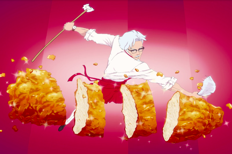 An anime-style illustration of a lithe, handsome Colonel Sanders chops an enormous chicken tender with a sword.