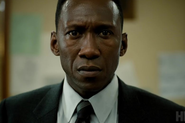 Actor Mahershala Ali stares into the camera in a still from True Detective.