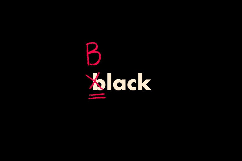 "On a black background, white letters spell out ""black"" in lowercase, while red copy editing marks cross out the small b and the beginning and replace it with a capital B."