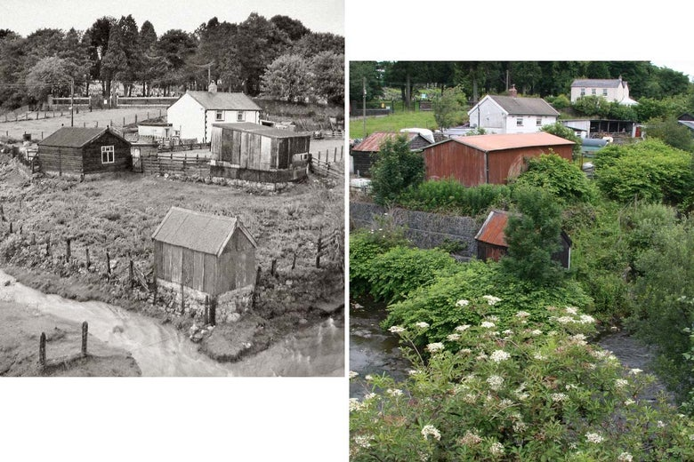 The headwaters of the River Rhymney in South Wales in 1984 and 2012.