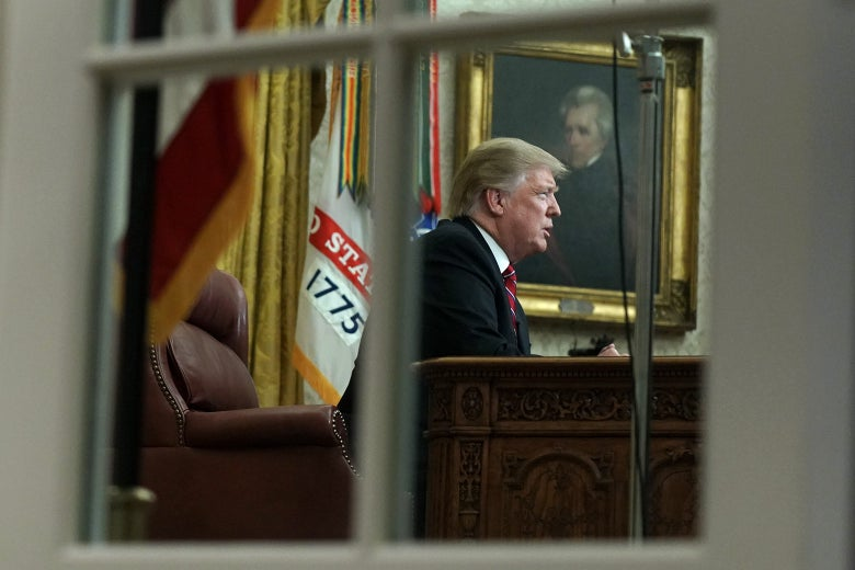 President Donald Trump speaks to the nation from the Oval Office.
