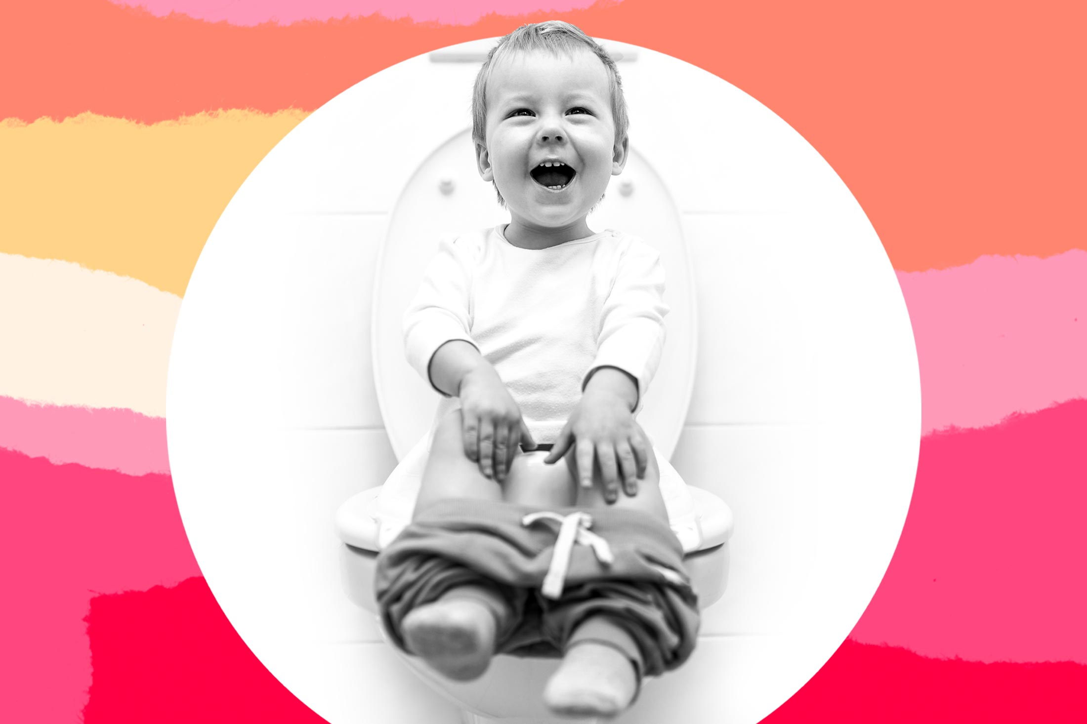 A young child smiles beatifically while sitting on the potty.