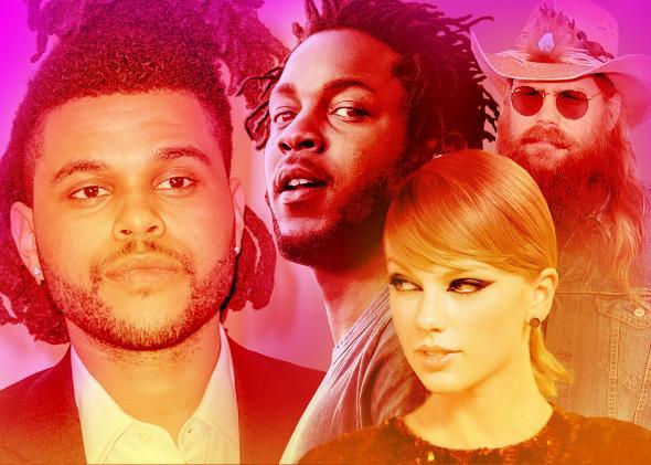 The Weeknd, Kendrick Lamar, Taylor Swift, Chris Stapleton.