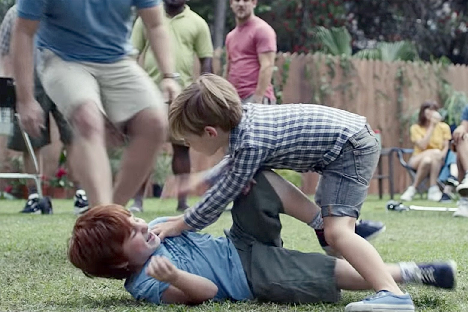 Boys fighting in a Gillette ad