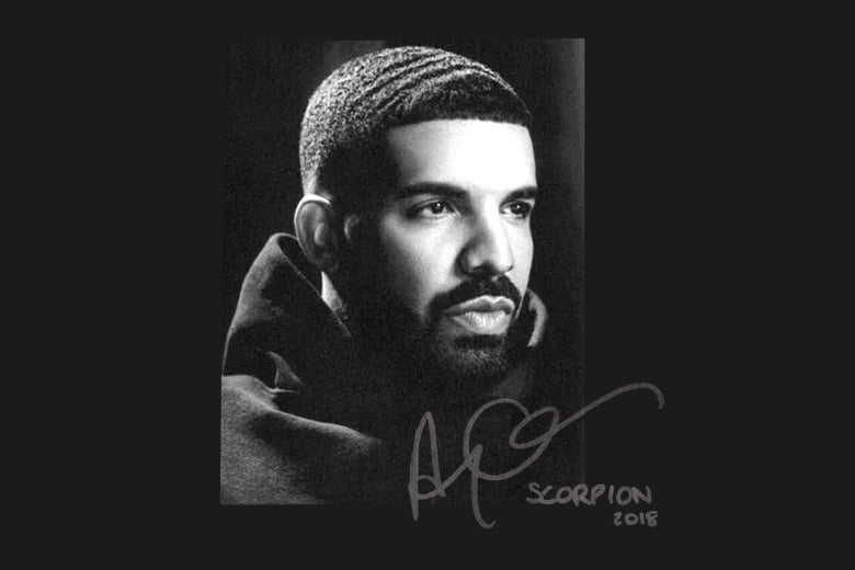 Drake looks off into the distance on the cover of his latest album, Scorpion.