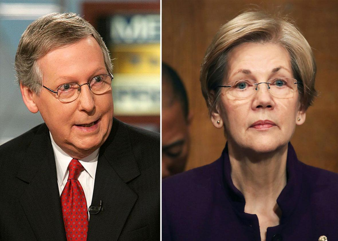 Mitch McConnell and Elizabeth Warren.