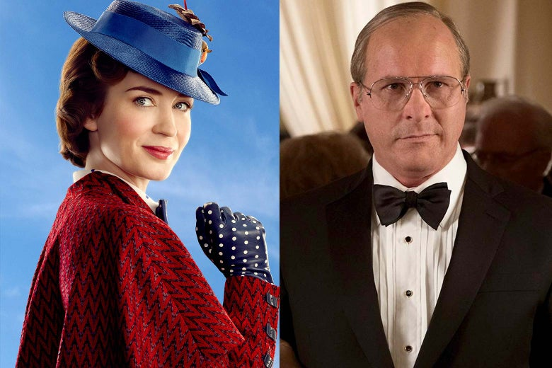 Emily Blunt as Mary Poppins and Christian Bale as Dick Cheney.