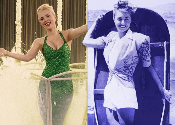 Scarlett Johansson in Hail, Caesar! and real-life movie star Esther Williams.