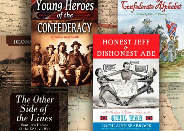 A collage of Confederacy-themed children's books floated in front of a map