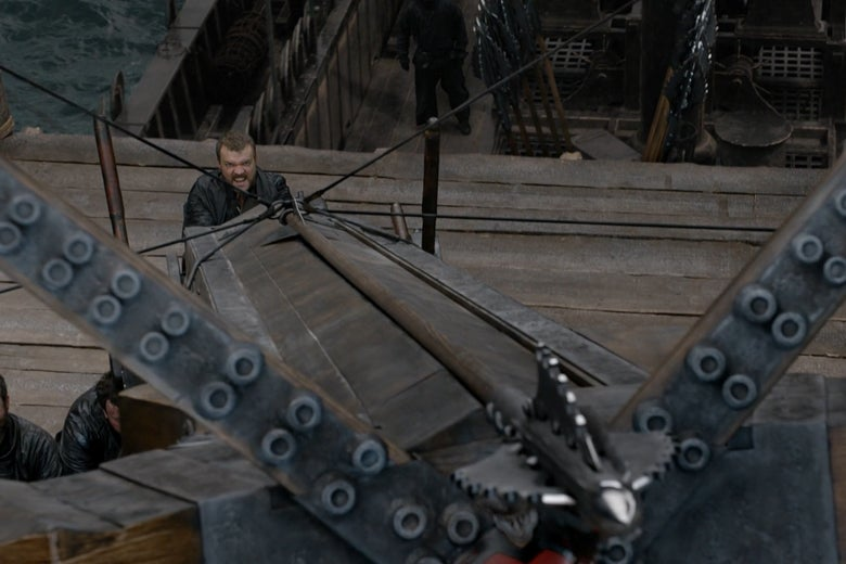 Euron Greyjoy on Game of Thrones, firing a gigantic, phallic mounted crossbow.
