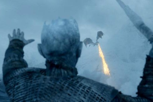 The Night King takes on a dragon