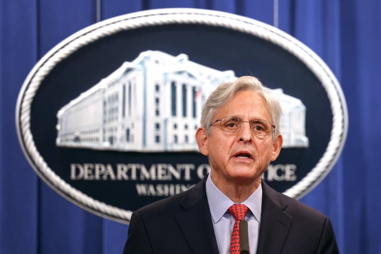 Attorney General Merrick Garland announces a federal investigation of the City of Phoenix and the Phoenix Police Department during a news conference at the Department of Justice on August 05, 2021 in Washington, D.C.