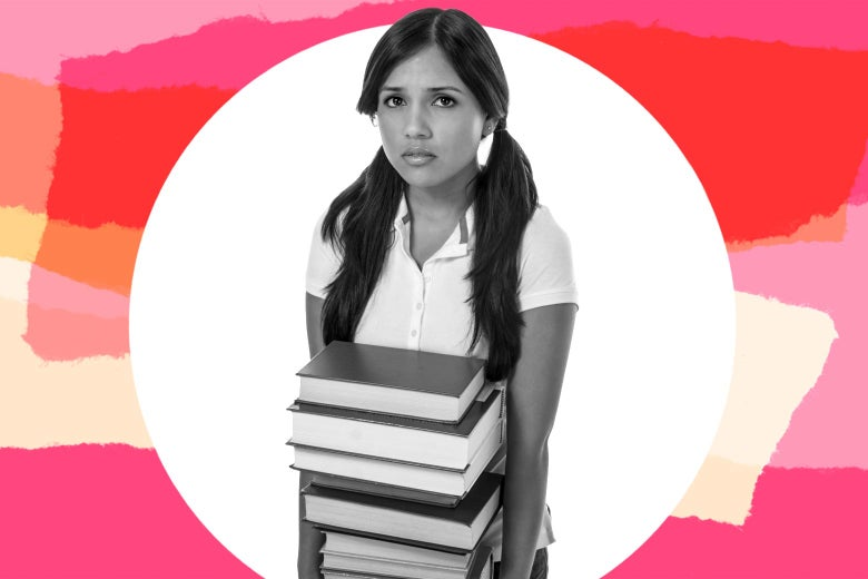 A teen girl looks anxious while holding school books.
