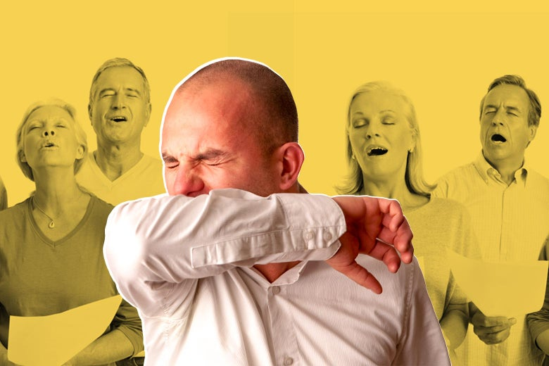 Collage of a man sneezing in front of a choir.
