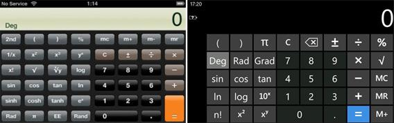 The iPhone's calculator (left), and Windows Phone's calculator (right)