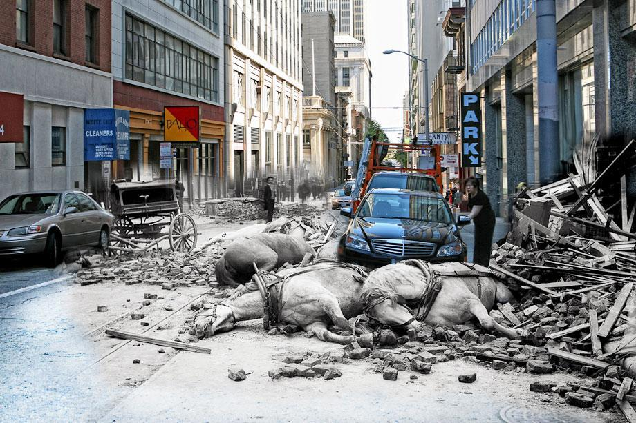 A woman opens the door to her Mercedes on Sacramento Street while horses killed by falling rubble lie in the street.