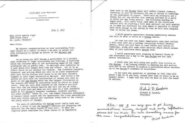 Harvard Law Review letter to Alice.