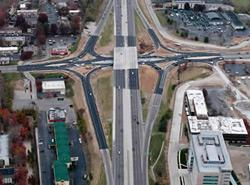 An aerial view of the Dorsett Road diverging diamond interchange in Missouri. Click image to expand.