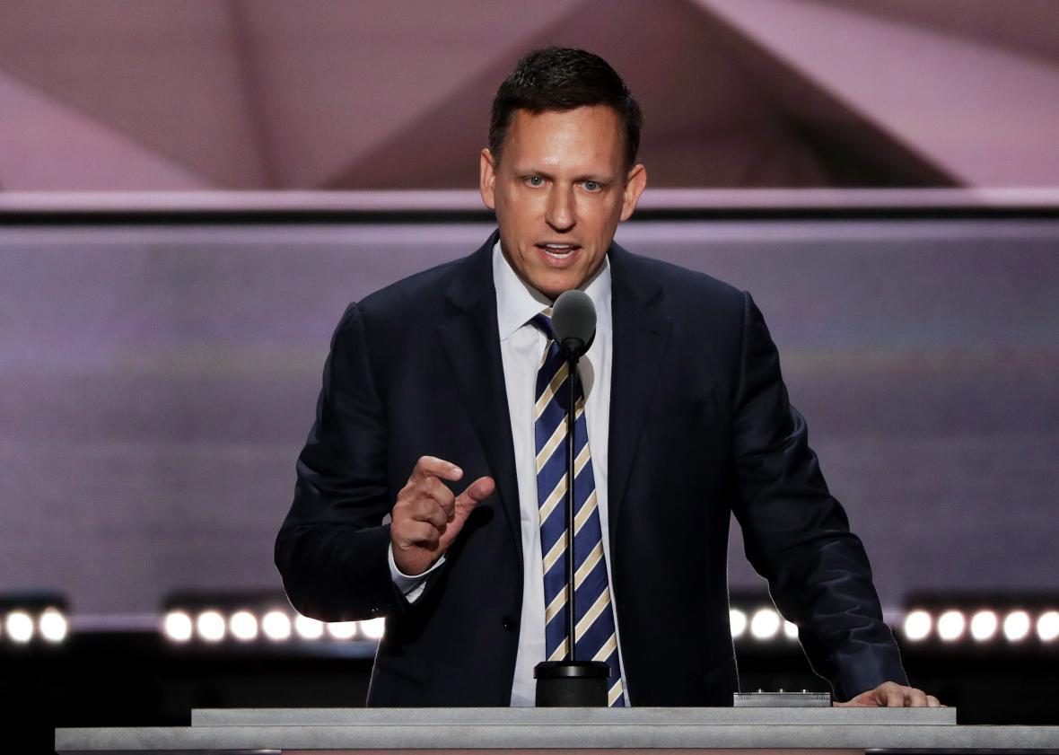 Peter Thiel speaks at the Republican National Convention on July 21 at the Quicken Loans Arena in Cleveland.