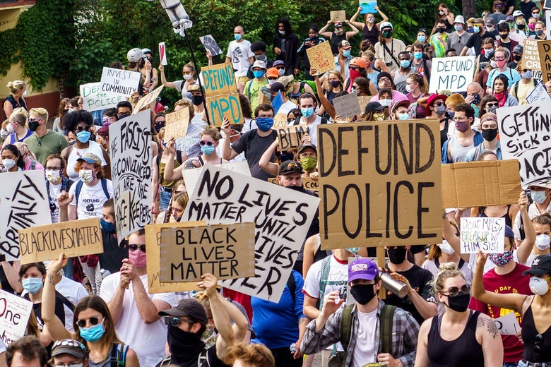 Demonstrators march against racism and police brutality on June 6, 2020 in Minneapolis, Minnesota.
