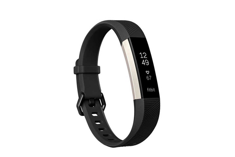 Black Fitbit Alta fitness tracker.
