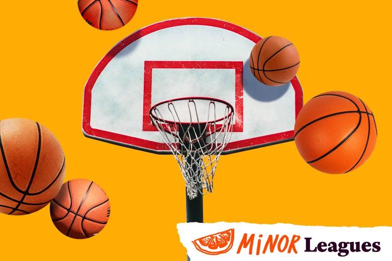Basketballs bouncing near a hoop.