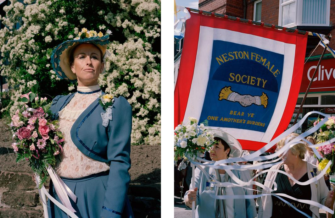 Left: Emily Walmsley at the Neston Female Society's Ladies Club Day. Right: The Neston Female Society's banner bearing a quote from St. Paul's letter to the Galatians.