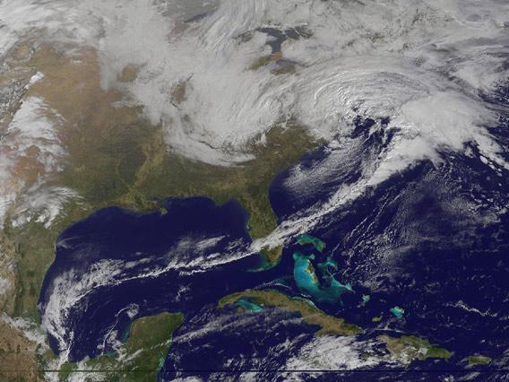 Winter storm seen from space