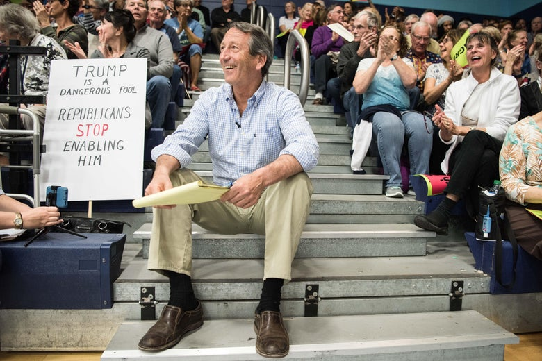Mark Sanford waits for his introduction during a town hall meeting March 18, 2017 in Hilton Head, South Carolina.